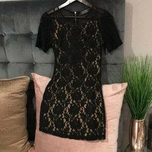 ASTR black double layered crochet lace dress